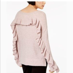 French Connection Pink Emilde Knit Frill Sweater